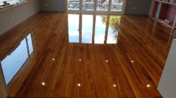 Uplifted Rimu re-installed and sanded and polished